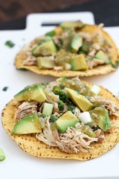 Slow Cooker Verde Chicken Tostadas from Bake Your Day