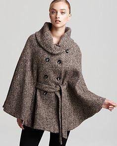 Calvin Klein Tweed Cape | Bloomingdale's