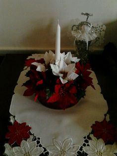 Cookie tin centerpiece - w/ 3 poinsettia stems, floral foam block, & taper candle