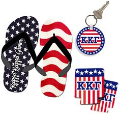 Greek Patriotic Package Deal $26.95 #Greek #Custom #Printed #Personalized #American #America #FourthOfJuly #KeyChain #FlipFlops #Koozie #Accessories #Gifts