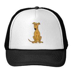 Funny Greyhound Dog Cartoon Hat #greyhounds #dogs #pets #hats #animals #zazzle #petspower
