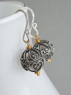 silver bead, hands, balines silver, balines vermeil, ears, beads, jewelri, design, earrings