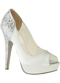 Get ready to hit the runway! High heel peep toe platform with fully crystal adorned heel. Materials: White Satin.   Heel Height: 4 3/4 heel.  Imported.