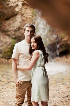 Waterfall engagement session // mint dress