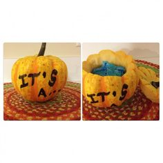 Hollow out a pumpkin or gourd and fill with pink or blue confetti or decorations. @BabyCenter