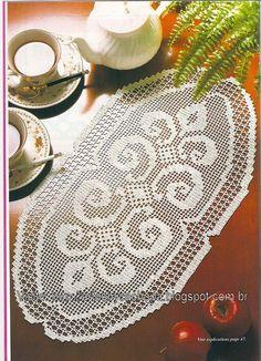 Artes by Cachopa - Croche & Trico: Croche - Croche file - Centrinho oval - Dessus de table