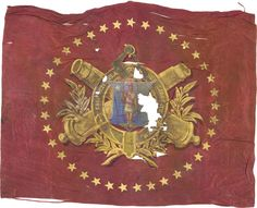 "Headquarters Flag of Battery ""A"" 1st Massachusetts Light Artillery. Both sides beautifully hand painted with the Massachusetts state seal, with crossed cannons, all inside a wreath of acanthus leaves and berries, surrounded by five pointed stars. The riband on the front bears the legend ""Battery A 1st Batt. Light Artillery M. V. M."" and the one on the reverse the state motto."