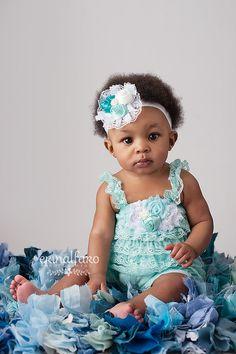 Petti Romper Headband SET,  Aqua Lace romper  baby headband, hair bow, outfit, pettiromper girl