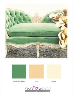 green, gold, cream #color palette #wedding