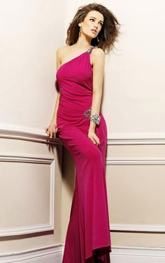 Evening Gown Dress,Slinky One Shoulder Floor-length Sheath Dress - 214 - pro - adba307017