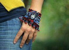 crochet cuff, bead, boho cuff, black red, clay face, polym clay, cuffs, blue boho, polymer clay