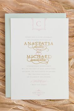 Invitation by @Sincerely, Jackie on #SMP Weddings: http://www.stylemepretty.com/new-york-weddings/new-york-city/manhattan/2013/12/27/3-west-club-engagement-party-inspiration/  Photography: Charlie Juliet