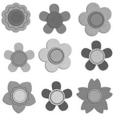Felt Flowers - a digital scrapbooking flower embellishment template by Marisa Lerin
