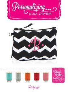 Thirty-One Gifts - Personalizing...Black Chevron!!! #ThirtyOneGifts #ThirtyOne #Monogramming #Organization #BlackChevron www.mythirtyone.com/ashleyhaley