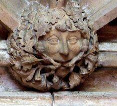 A Green Man with acorns in King's College Chapel, Cambridge, England (photo Tina Negus)