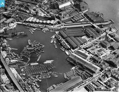 """Captioned: """"Regents Canal Dock, Limehouse, 1928""""   #Regents #Canal #London #Boat #lighter #barge #dock #east #limehouse #docklands #historic"""
