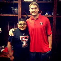 10 year-old cancer fighter Myles Galvan meets his hero, @Texas Tech Athletics QB Seth Doege! #VAB @valeroalamobowl