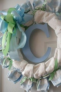Like that this is easy, looks smart. So cute! A Diaper wreath!