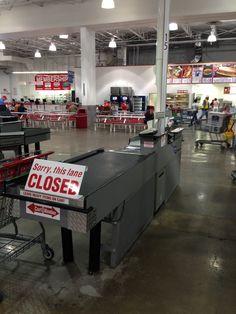 How refreshing! This checkout at Costco has no soda, no candy, nada. (Costco, Arlington, VA, 7/14)
