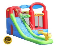 Inflatable Bounce House and Water Slide Wet or Dry Playstation by Bounceland. $439.00. Award winning wet and dry 7-in-1 Bounce and Obstacle Combo. Total inflated size is 17.5 ft x9 ftx8.5 ft h. It has bounce, ball pit(30 balls included), climb, tunnel, basketball hoop, water gun, long slide, splash pool and velcro roof top for the hot summer days. It provides hours of backyard fun.  Weight limit recommendations: Recommended for ages 3 to 10. /Maximum weight: 400 lbs. /Maximum ki...