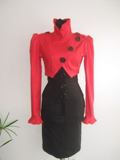Elegant ladies suit, stylish and beautiful, classic black and red combination.. $87.00, via Etsy.
