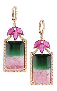 §Watermelon Tourmaline, Rubellite, Gold And Diamond Earrings