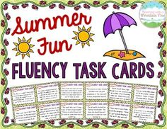 Summer End of Year Fluency Task Cards { Oral Fluency Reading fluency }$
