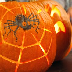 Keep pumpkin carving simple this year with this cute spider. Get the pattern here: http://www.bhg.com/halloween/pumpkin-decorating/painted-pumpkin-ideas/?socsrc=bhgpin092712spinechillingspider#page=17