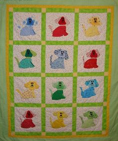 Free Puppy Love  Baby Quilt Pattern - Learn to do a hand running stitch!