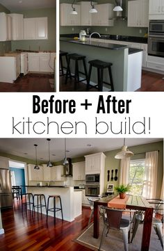 Before + After Kitchen Build.  Check out the progress of this kitchen from scratch!