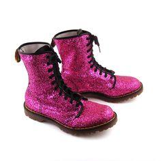 omg my size!  >.<  Glitter Doc Martens Vintage 1990 Magenta Pink Glitter Doc Martens Boots UK Size 9. $548.00, via Etsy.