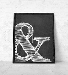Ampersand print Black and white print typographic print