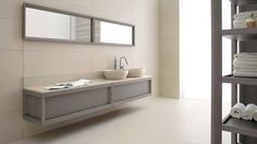 Dogi bathroom by GD Cucine - Dove grey ash-wood vanities - Honed Biancone stone countertop and washbasins