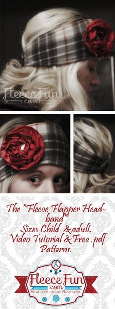 Love how easy these are to make - especially with a video tutorial to walk you through it Makes sewing easy. I thin I'll make a bunch for handmade gifts! Fleece Flapper Headband Wide Fleece Headband Pattern on www.fleecefun.com