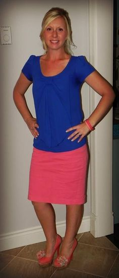 Electric Blue Bow Shirt / Coral Pencil Skirt / Coral Heels :)