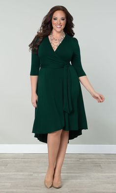 Our plus size Winona Hi-Lo Wrap Dress is the perfect blend of classic and trendy.  www.kiyonna.com  #KiyonnaPlusYou  #Plussize  #MadeintheUSA  #Kiyonna  #Green  #Trendy  #Classic  #WrapDress  #HiLo