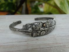 Rustic torched up cuff  hand fabricated in sterling silver and 14k gold by JoDeneMoneuseJewelry