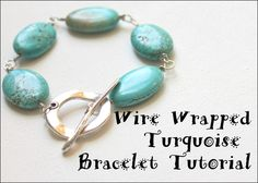 Wire Wrapped Turquoise Bracelet Tutorial using beads and clasp from www.happymangobeads.com  #beading #diy