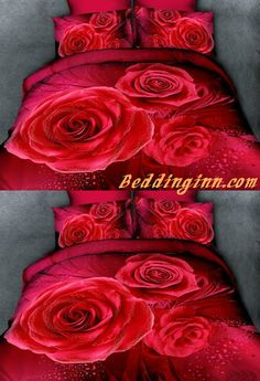 #rose #bedding Fabulous Red Rose Print 4-Piece Cotton Duvet Cover Sets  Buy link->http://goo.gl/C1O5bN Live a better life, start with @beddinginn