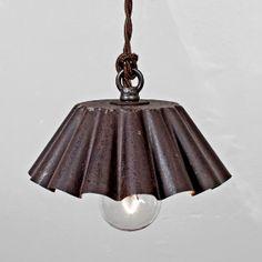 Brioche Tin Pendant Light SM  Ebonized Rust Patina by FleaMarketRx, $130.00