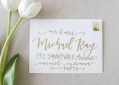 gold lettering on wedding envelopes LetteredLifeShop on Etsy