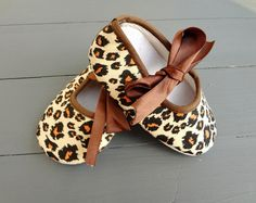 Baby Ballerina Slippers in Cheetah - Baby Shoes - Crib Shoes - Animal Print - Leopard - Baby Girl Clothing on Etsy, $5.50