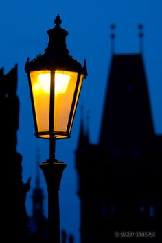 A lamppost on the Charles Bridge in Prague, Czech Republic
