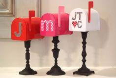 DIY Valentine Day Decor - mailboxes on candlesticks