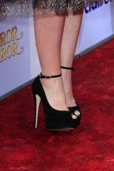 Lily Collins #shoes #fashion #celebrity #heels #black
