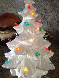 Fabulous Ceramic White Christmas Tree multi-colored doves and lights 1950s Chalkware retro lighting Christmas decoration Vintage Holiday on Etsy, $159.00