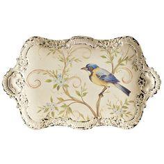 Petite Metal Tray with Bird