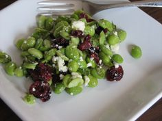 Edamame salad with cranberries, feta and basil- high protein- #vegetarian recipes  http://www.lemonandlace.com/2011/07/edamame-salad-with-basil-cranberries_13.html