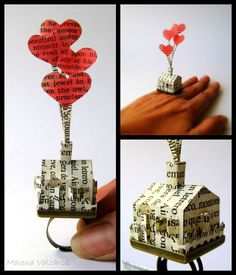 Paper house ring book art sculpture by Malena Valcárcel.