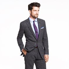 Ludlow two-button suit jacket with double-vented back in bird's-eye English wool tweed